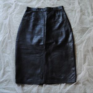 80's Vintage Italian Leather Midi Skirt